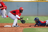 Cincinnati Reds Hector Vargas (52) waits for a throw as Ka'ai Tom (20) slides into second during an instructional league game against the Cleveland Indians on October 17, 2015 at the Goodyear Ballpark Complex in Goodyear, Arizona.  (Mike Janes/Four Seam Images)