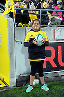 The matchball runner during the Super Rugby semifinal match between the Hurricanes and Chiefs at Westpac Stadium, Wellington, New Zealand on Saturday, 30 July 2016. Photo: Dave Lintott / lintottphoto.co.nz