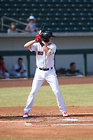 Mesa Solar Sox third baseman Bobby Dalbec (11), of the Boston Red Sox organization, at bat during an Arizona Fall League game against the Peoria Javelinas at Sloan Park on October 24, 2018 in Mesa, Arizona. Mesa defeated Peoria 4-3. (Zachary Lucy/Four Seam Images)