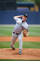 Jackson Generals starting pitcher Taylor Clarke (36) delivers a warmup pitch during a game against the Biloxi Shuckers on April 23, 2017 at MGM Park in Biloxi, Mississippi.  Biloxi defeated Jackson 3-2.  (Mike Janes/Four Seam Images)
