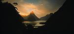Sunrise on Mitre Peak in Milford Sound. Fiordland National Park. New Zealand.