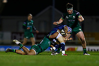 20th February 2021; Galway Sportsgrounds, Galway, Connacht, Ireland; Guinness Pro 14 Rugby, Connacht versus Cardiff Blues; Bundee Aki and Tom Daly (Connacht) stop Matthew Morgan (Cardiff Blues) from advancing