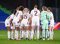The Swiss players pictured ahead of the Womens International Friendly game between France and Switzerland at Stade Saint-Symphorien in Longeville-lès-Metz, France.