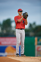 Lowell Spinners starting pitcher Noah Song (46) during a NY-Penn League Semifinal Playoff game against the Batavia Muckdogs on September 4, 2019 at Dwyer Stadium in Batavia, New York.  Batavia defeated Lowell 4-1.  (Mike Janes/Four Seam Images)
