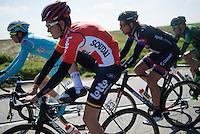 Tiesj Benoot (BEL/Lotto-Soudal) whilst getting rid of his oversocks<br /> <br /> 99th Ronde van Vlaanderen 2015