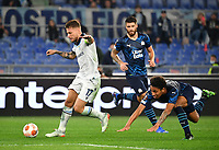 Uefa Europa League Group E Lazio vs Olympique de Marseille Olympic stadium Rome<br /> Lazio's captain Ciro Immobile (L) in action with Olympique de Marseille's Boubacar Kamara (R) during the UEFA Europa League Group E Football match between Lazio and Olympique de Marseille at the Olympic stadium in Rome on October 21, 2021. <br /> UPDATE IMAGES PRESS/Isabella Bonotto