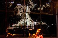 Reflexo do Prédio da CDP, Docas do Pará, em frente Estação das Docas a beira da baia do Guajará.<br /> Belém, Pará, Brasil.<br /> Foto Paulo Santos<br /> 15/12/2013
