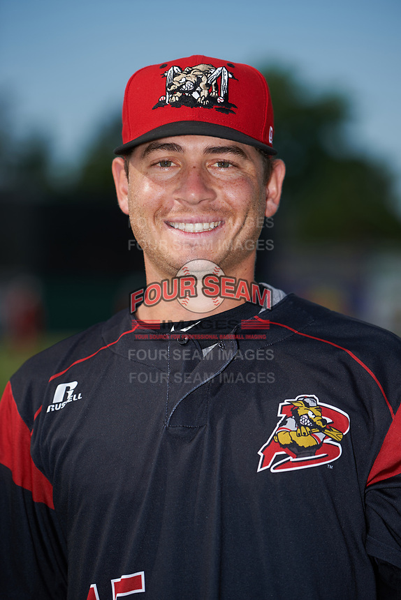 Batavia Muckdogs pitcher Josh Alberius (15) poses for a photo before a game against the Auburn Doubledays on July 6, 2017 at Dwyer Stadium in Batavia, New York.  Auburn defeated Batavia 4-3.  (Mike Janes/Four Seam Images)