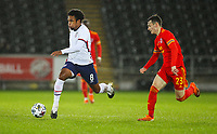 12th November 2020; Liberty Stadium, Swansea, Glamorgan, Wales; International Football Friendly; Wales versus United States of America; Weston McKennie of USA drives past Dylan Levitt of Wales