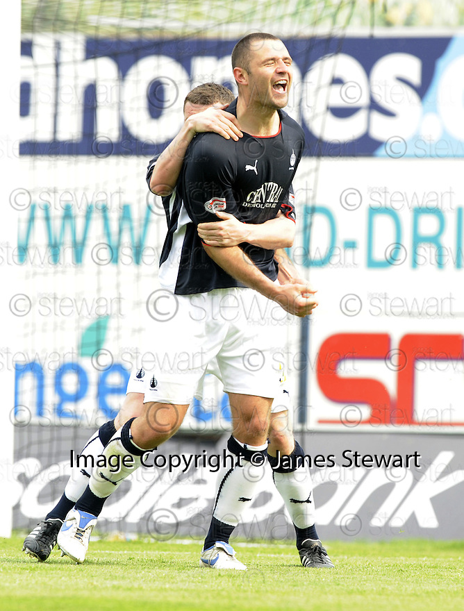 10/05/2008   Copyright Pic: James Stewart.File Name : sct_jspa04_falkirk_v_ict.MICHAEL HIGDON CELEBRATES WITH THOMAS SCOBBIE AFTER HE SCORES FALKIRK'S FIRST.James Stewart Photo Agency 19 Carronlea Drive, Falkirk. FK2 8DN      Vat Reg No. 607 6932 25.Studio      : +44 (0)1324 611191 .Mobile      : +44 (0)7721 416997.E-mail  :  jim@jspa.co.uk.If you require further information then contact Jim Stewart on any of the numbers above........