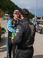 Jun 18, 2017; Bristol, TN, USA; NHRA pro stock driver Tanner Gray (left) congratulates Alex Laughlin during the Thunder Valley Nationals at Bristol Dragway. Mandatory Credit: Mark J. Rebilas-USA TODAY Sports