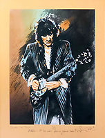 BNPS.co.uk (01202 558833)<br /> Pic: OmegaAuctions/BNPS<br /> <br /> PICTURED: A painting of Ronnie Wood himself<br /> <br /> A huge collection of artwork by legendary Rolling Stones singer Ronnie Wood has emerged for sale for a whopping £25,000.<br /> <br /> The group of 49 prints have been created by the 72-year-old rocker over a number of years and depict a host of famous faces.<br /> <br /> Among the celebrities to be given the artist's treatment are the likes of Mohammed Ali, Elvis Presley and even his own bandmates.