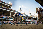 LOUISVILLE, KY - MAY 07: Gun Runner #5 with Florent Geroux finishes 3rd ahead of Mohaymen #14 and Suddenbreakingnews #2 with Luis S. Quinonez in  the Derby Stakes at Churchill Downs on May 07, 2016 in Louisville, Kentucky.(Photo by Alex Evers/Eclipse Sportswire/Getty Images)