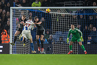 Burnley's Ben Mee (left) & Burnley's Charlie Taylor (right)  battles with Brighton & Hove Albion's Glenn Murray <br /> <br /> Photographer David Horton/CameraSport<br /> <br /> The Premier League - Brighton and Hove Albion v Burnley - Saturday 9th February 2019 - The Amex Stadium - Brighton<br /> <br /> World Copyright © 2019 CameraSport. All rights reserved. 43 Linden Ave. Countesthorpe. Leicester. England. LE8 5PG - Tel: +44 (0) 116 277 4147 - admin@camerasport.com - www.camerasport.com