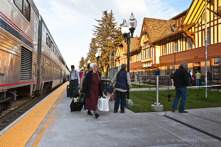 Some Amish passenger depart the Empire Builder in Whitefish, Montana.
