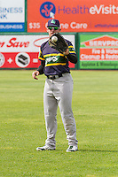 Beloit Snappers infielder Max Kuhn (10) warms up prior to a Midwest League game against the Wisconsin Timber Rattlers on May 30th, 2015 at Fox Cities Stadium in Appleton, Wisconsin. Wisconsin defeated Beloit 5-3 in the completion of a game originally started on May 29th before being suspended by rain with the score tied 3-3 in the sixth inning. (Brad Krause/Four Seam Images)