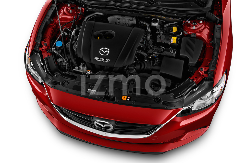 High angle engine detail of a  2014 Mazda Mazda6 i Touring Sedan