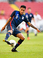 GUADALAJARA, MEXICO - MARCH 28: Jesus Ferreira #9 of the United States turns with the ball during a game between Honduras and USMNT U-23 at Estadio Jalisco on March 28, 2021 in Guadalajara, Mexico.