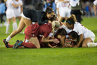 Stanford, CA - December 8, 2019: Katie Meyer, Lauren Rood, Sophia Smith, Sam Hiatt, Emily Chiao, Kennedy Wesley at Avaya Stadium. The Stanford Cardinal won their 3rd National Championship, defeating the UNC Tar Heels 5-4 in PKs after the teams drew at 0-0.