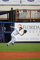 Charlotte Stone Crabs right fielder Ryan Boldt (20) catches a fly ball during the first game of a doubleheader against the Tampa Yankees on July 18, 2017 at Charlotte Sports Park in Port Charlotte, Florida.  Charlotte defeated Tampa 7-0 in a game that was originally started on June 29th but called to inclement weather.  (Mike Janes/Four Seam Images)