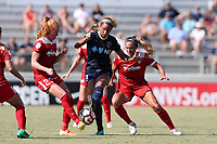 Cary, North Carolina  - Saturday August 19, 2017: Lynn Williams and Tori Huster during a regular season National Women's Soccer League (NWSL) match between the North Carolina Courage and the Washington Spirit at Sahlen's Stadium at WakeMed Soccer Park.