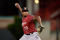 Altoona Curve pitcher Angel German (32) during an Eastern League game against the Erie SeaWolves on June 3, 2019 at UPMC Park in Erie, Pennsylvania.  Altoona defeated Erie 9-8.  (Mike Janes/Four Seam Images)