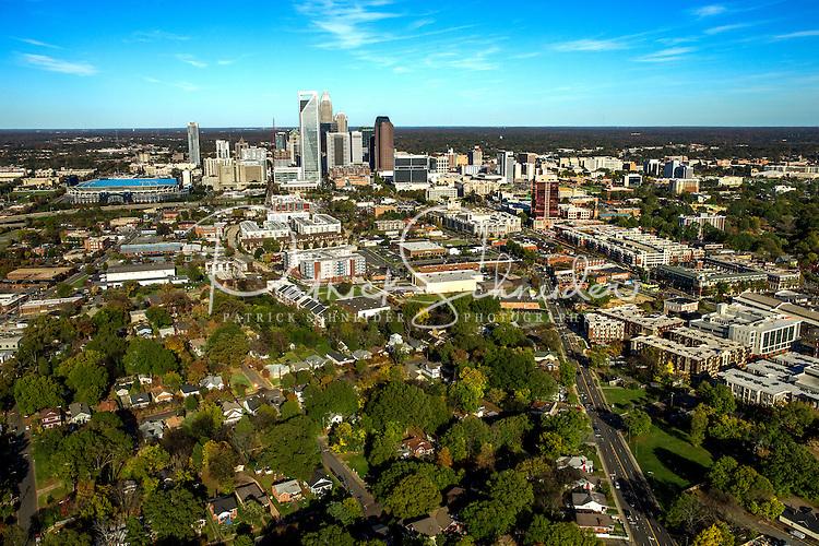 Aerial photography of the Charlotte, North Carolina skyline. The skyline views of Bank of America Corporate Center, Duke Energy Center, Bank of America Stadium and the Charlotte Knights Baseball Stadium.<br /> <br /> Charlotte Photographer - Patrick SchneiderPhoto.com