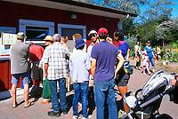 5th Annual Garlic Festival, August 2013 (hosted by The Sharing Farm) at Terra Nova Rural Park, Richmond, BC, British Columbia, Canada - Garlic Lovers line up for Garlic Ice Cream
