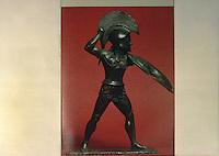 Greece Arms:  Bronze Warrior (Hoplite).  From Oracle of Zeus, Dodona, N.W. Greece, now at Berlin. ATLAS OF ANCIENT GREECE.