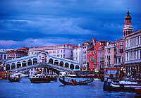 The Grand Canal with view toward the Rialto Bridge Venice Italy.