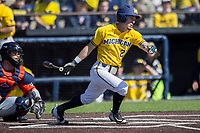 Michigan Wolverines designated hitter Nick Poirier (28) follows through on his swing against the Illinois Fighting Illini during the NCAA baseball game on April 8, 2017 at Ray Fisher Stadium in Ann Arbor, Michigan. Michigan defeated Illinois 7-0. (Andrew Woolley/Four Seam Images)