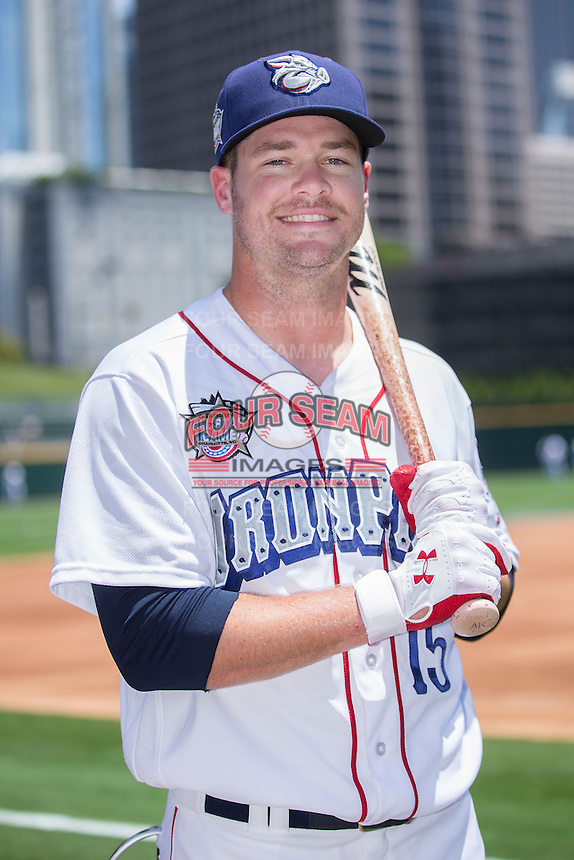Lehigh Valley IronPigs catcher Andrew Knapp (15) poses for a photo during Media Day for the 2016 Triple-A All-Star Game at BB&T BallPark on July 12, 2016 in Charlotte, North Carolina.   (Brian Westerholt/Four Seam Images)