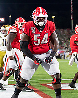 ATHENS, GA - SEPTEMBER 21: Justin Shaffer #54 of the Georgia Bulldogs celebrate after a Georgia touchdown during a game between Notre Dame Fighting Irish and University of Georgia Bulldogs at Sanford Stadium on September 21, 2019 in Athens, Georgia.