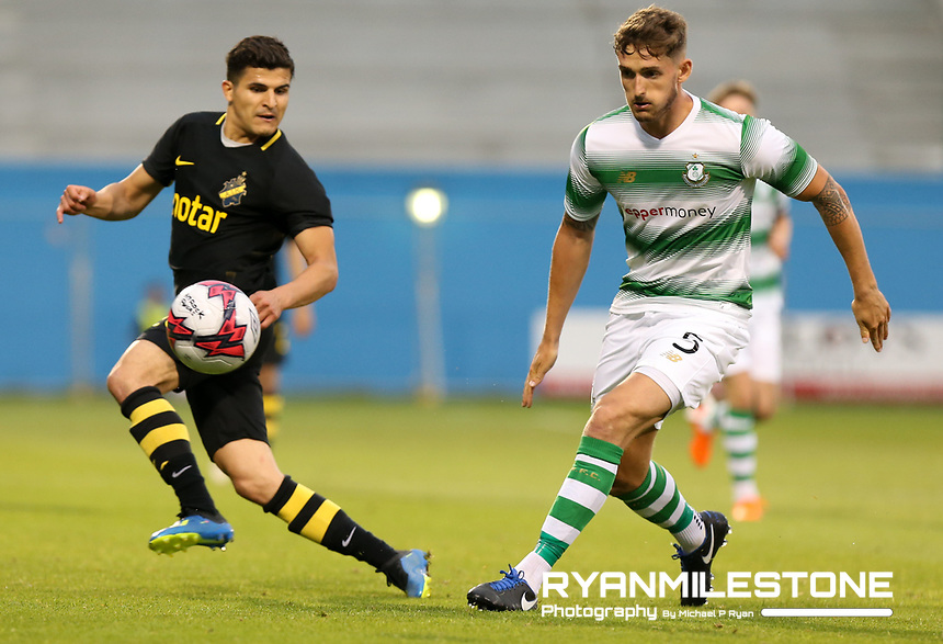Tarik Elyounoussi od AIK in action against Lee Grace of Shamrock Rovers during the UEFA Europa League First Qualifying Round First Leg between Shamrock Rovers and AIK on Thursday 12th July 2018 at Tallaght Stadium, Dublin. Photo By Michael P Ryan