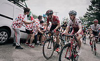 Tony Martin (GER/Katusha-Alpecin) & Thomas de Gendt (BEL/Lotto-Soudal) leading the grupetto up the final HC climb of the day: the Mont du Chat (HC/8.7km/10.3%)<br /> <br /> 104th Tour de France 2017<br /> Stage 9 - Nantua › Chambéry (181km)