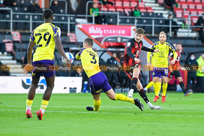 David Brooks of AFC Bournemouth scores the third goal during AFC Bournemouth vs Huddersfield Town, Sky Bet EFL Championship Football at the Vitality Stadium on 12th December 2020