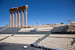 July 2010, LEBANON: Chairs and a stage are prepared for a performance of opera amidst the Bekaa Valley's famed  Roman ruins.Picture by Graham Crouch