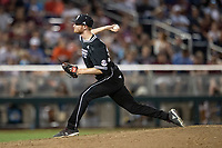 Mississippi State Bulldogs /p/ Jared Liebelt (19) /del/ during Game 4 of the NCAA College World Series against the Auburn Tigers on June 16, 2019 at TD Ameritrade Park in Omaha, Nebraska. Mississippi State defeated Auburn 5-4. (Andrew Woolley/Four Seam Images)