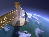 Man standing on globe w/ spyglass