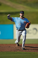 Hickory Crawdads starting pitcher Tim Brennan (15) in action against the Kannapolis Intimidators at Kannapolis Intimidators Stadium on May 6, 2019 in Kannapolis, North Carolina. The Crawdads defeated the Intimidators 2-1 in game one of a double-header. (Brian Westerholt/Four Seam Images)