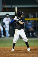 Michael Seegers (4) (Iowa) of the Bluefield Ridge Runners at bat against the Burlington Sock Puppets at Burlington Athletic Park on June 8, 2021 in Burlington, North Carolina. (Brian Westerholt/Four Seam Images)