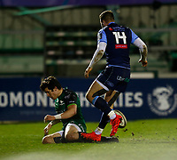 20th February 2021; Galway Sportsgrounds, Galway, Connacht, Ireland; Guinness Pro 14 Rugby, Connacht versus Cardiff Blues; Alex Wootton gets over the line to score a try for Connacht