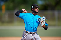 Miami Marlins pitcher Jeremy Ovalle (96) during a Minor League Spring Training Intrasquad game on March 28, 2019 at the Roger Dean Stadium Complex in Jupiter, Florida.  (Mike Janes/Four Seam Images)