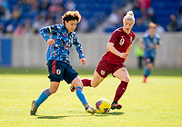 HARRISON, NJ - MARCH 08: Mayo Doko #22 of Japan passes the ball during a game between England and Japan at Red Bull Arena on March 08, 2020 in Harrison, New Jersey.