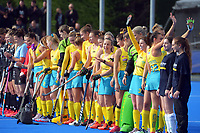 The Hockeyroos applaud fans before the Sentinel Homes Trans Tasman Series hockey match between the New Zealand Black Sticks Women and the Australian Hockeyroos at Massey University Hockey Turf in Palmerston North, New Zealand on Sunday, 30 May 2021 Photo: Dave Lintott / lintottphoto.co.nz