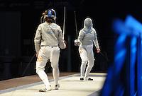 Deutsche Meisterschaft DM 2013 Fechten Säbel in Tauberbischofsheim - im Bild: 1. Halbfinale Sibylle Klemm (Dormagen) gegen Stefanie Kubissa (hinten, Dormagen). Foto: Norman Rembarz