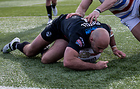 Adrian Purtell of the London Broncos scores during the Kingstone Press Championship match between London Broncos and Rochdale Hornets at Castle Bar , West Ealing , England  on 26 March 2017. Photo by Steve Ball / PRiME Media Images.