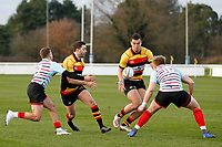 Tom Hodgson of Richmond Rugby passing the ball during the English National League match between Richmond and Blackheath  at Richmond Athletic Ground, Richmond, United Kingdom on 4 January 2020. Photo by Carlton Myrie.