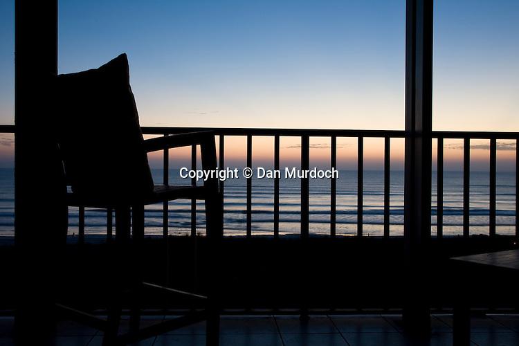 Balcony view of ocean sunrise