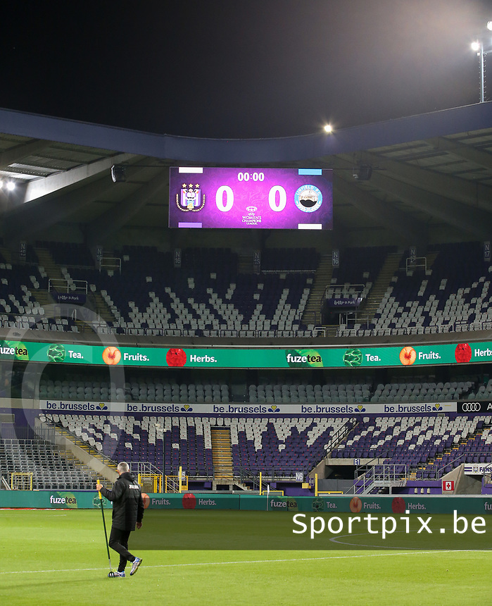 Scoreboard pictured before a female soccer game between RSC Anderlecht Dames and Northern Irish Linfield Ladies  in the first qualifying round for the Uefa Womens Champions League of the 2020 - 2021 season , Wednesday 4 th of November 2020  in ANDERLECHT , Belgium . PHOTO SPORTPIX.BE | SPP | SEVIL OKTEM